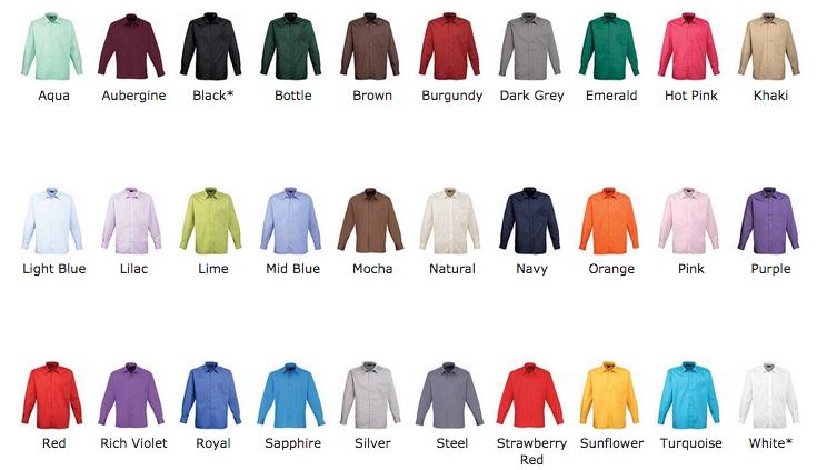 Popliinipaita 30 värivaihtoehtoa