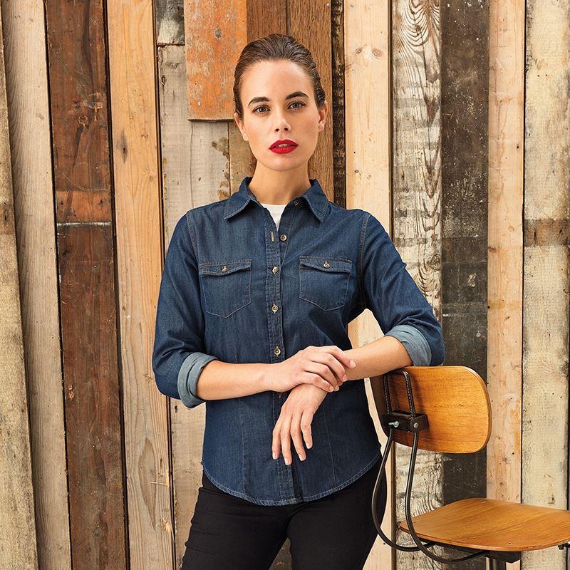Farkkukankainen naisten denim-paita