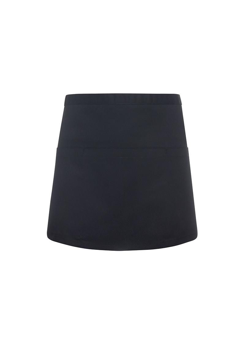 Lyhyt taskullinen esiliina Basic 3, Musta