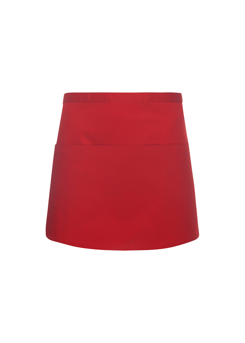 Lyhyt taskullinen esiliina Basic 3, Punainen