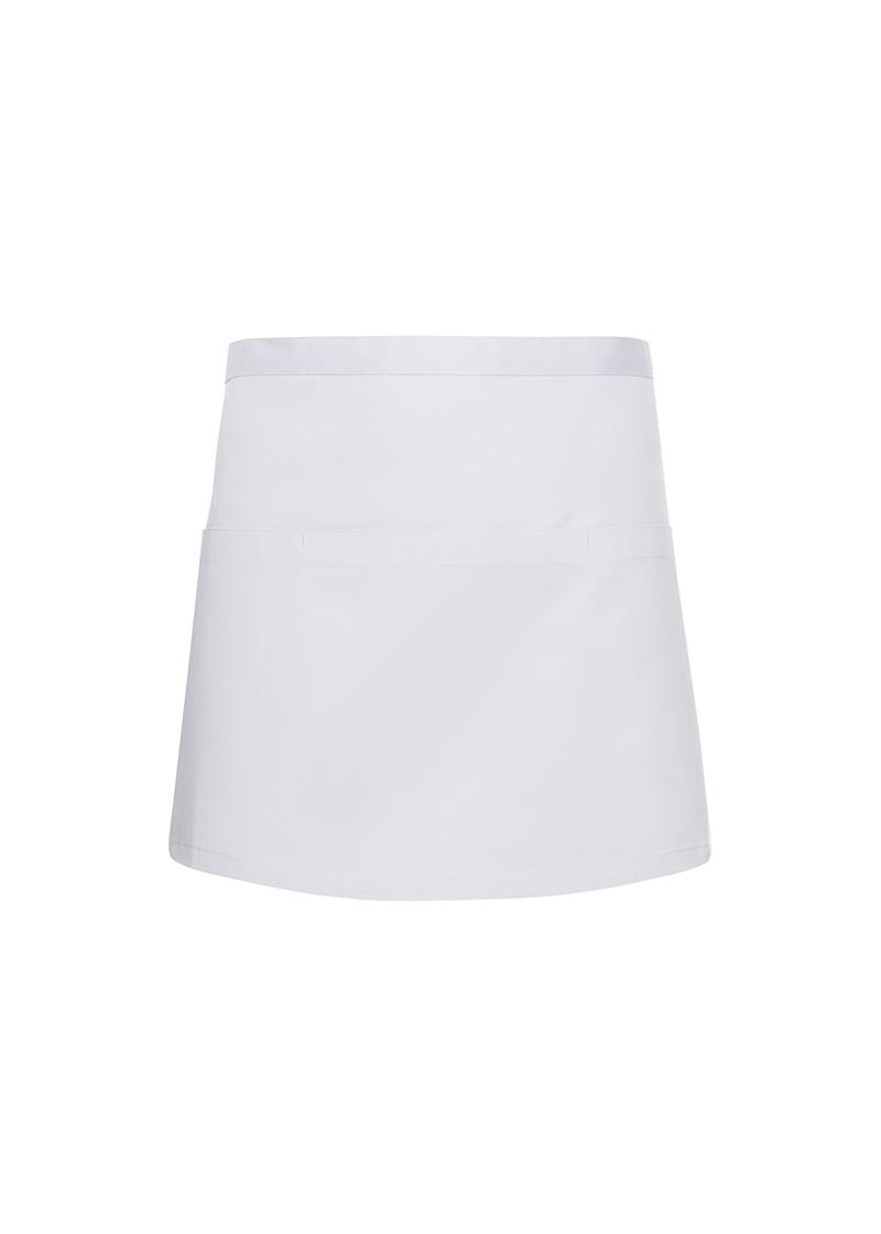 Lyhyt taskullinen esiliina Basic 3, Valkoinen