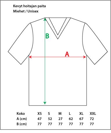 Kevyt hoitajan paita mitat
