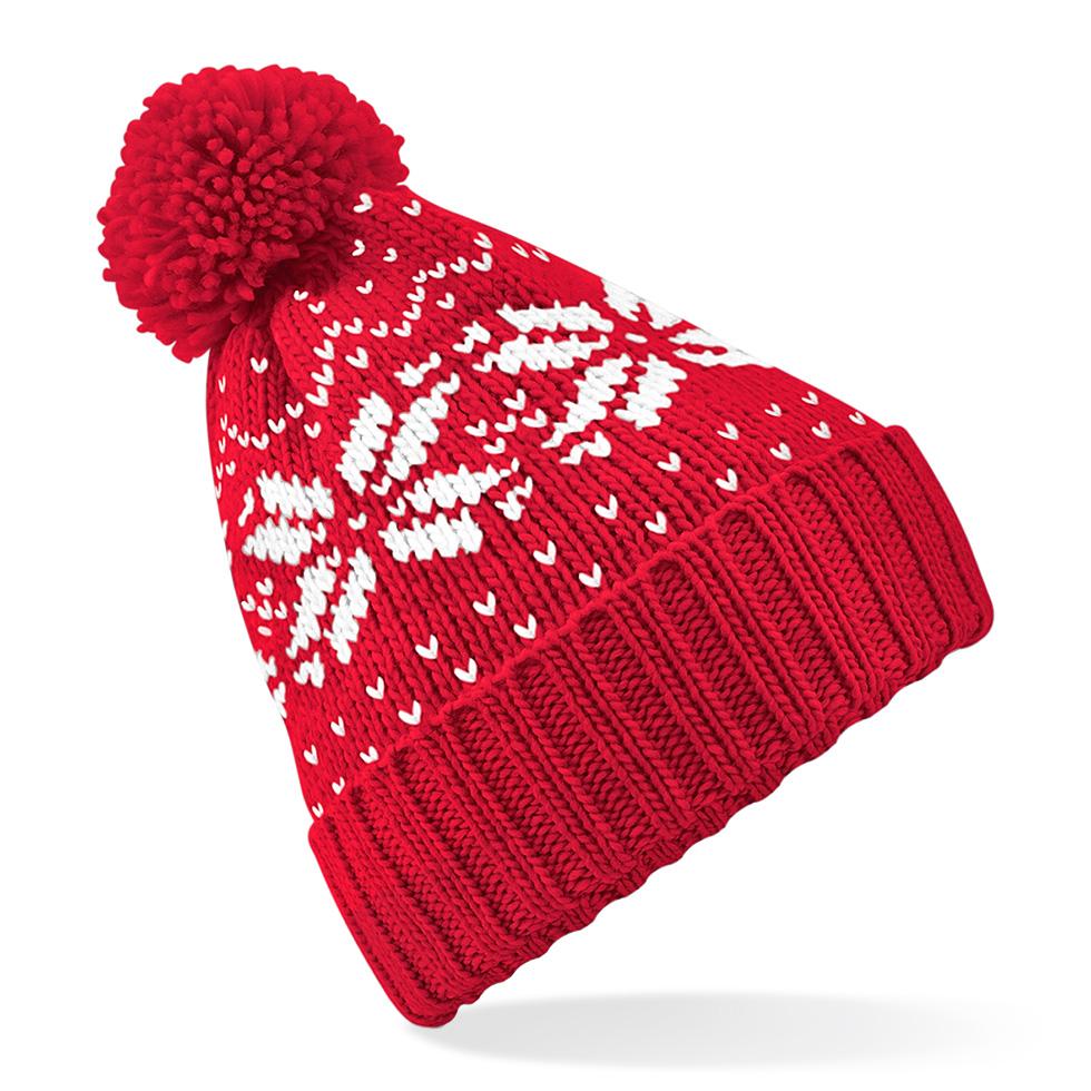 Fair Isle Snowstar Pipo Classic Red - Valkoinen