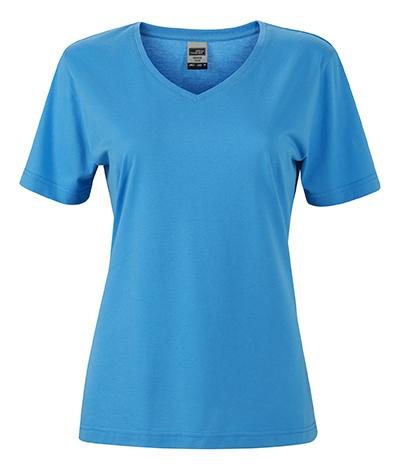 Naisten V-aukkoinen T-paita työkäyttöön Aqua