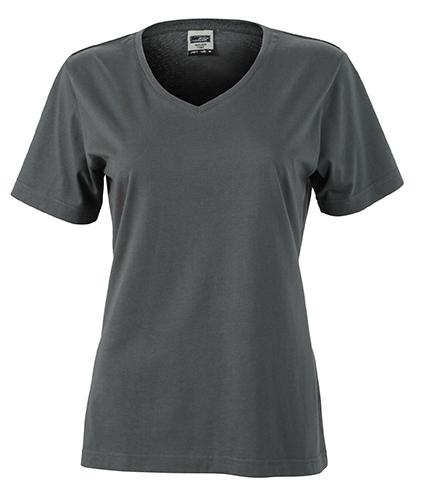 Naisten V-aukkoinen T-paita työkäyttöön Hiili