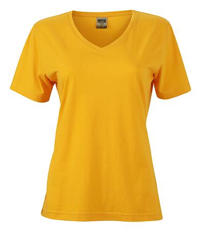 Naisten V-aukkoinen T-paita työkäyttöön Kullankeltainen