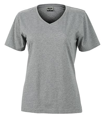 Naisten V-aukkoinen T-paita työkäyttöön Meleerattu harmaa
