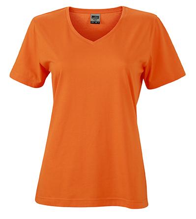 Naisten V-aukkoinen T-paita työkäyttöön Oranssi