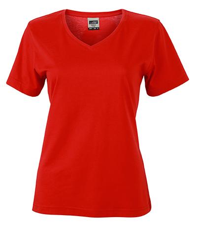 Naisten V-aukkoinen T-paita työkäyttöön Punainen