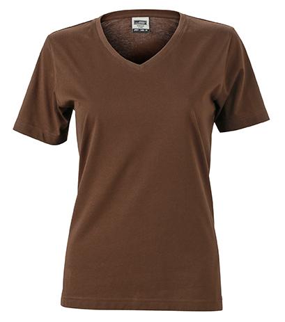 Naisten V-aukkoinen T-paita työkäyttöön Ruskea