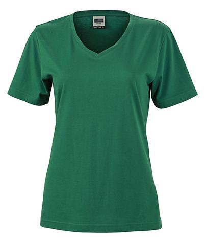 Naisten V-aukkoinen T-paita työkäyttöön Tummanvihreä