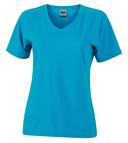 Naisten V-aukkoinen T-paita työkäyttöön Turkoosi