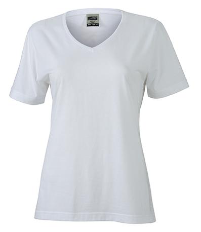 Naisten V-aukkoinen T-paita työkäyttöön Valkoinen