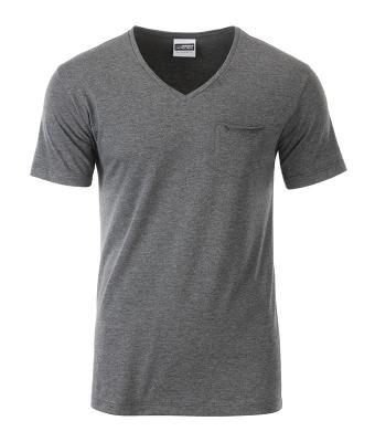 T-paita V-Pocket Meleerattu musta-harmaa