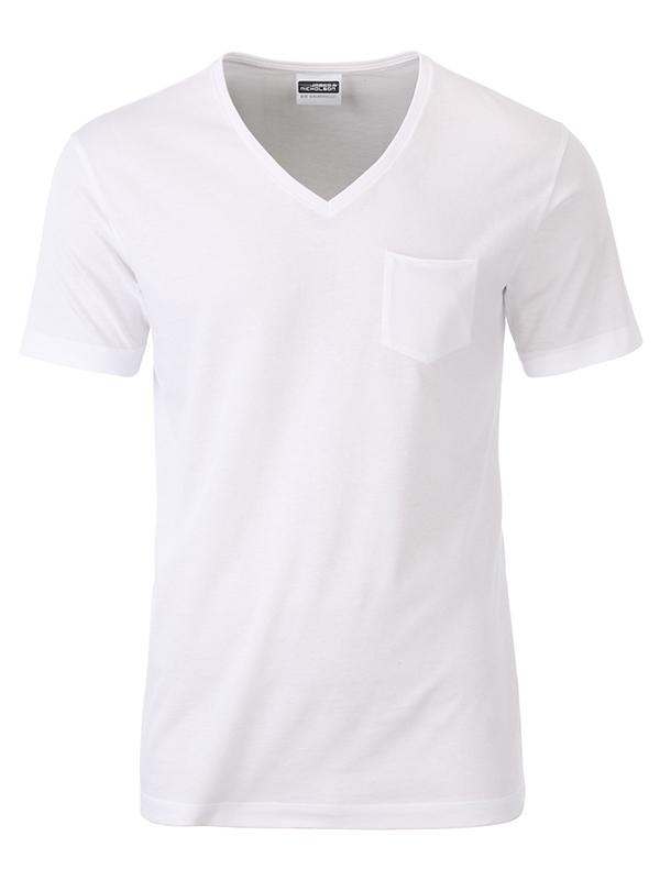 T-paita V-Pocket valkoinen