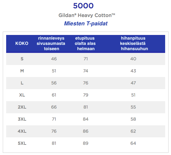 Mitat Gildan 5000 T-paidat