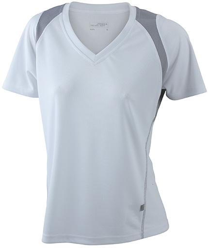 JN396 Naisten tekninen paita, valko/harmaa