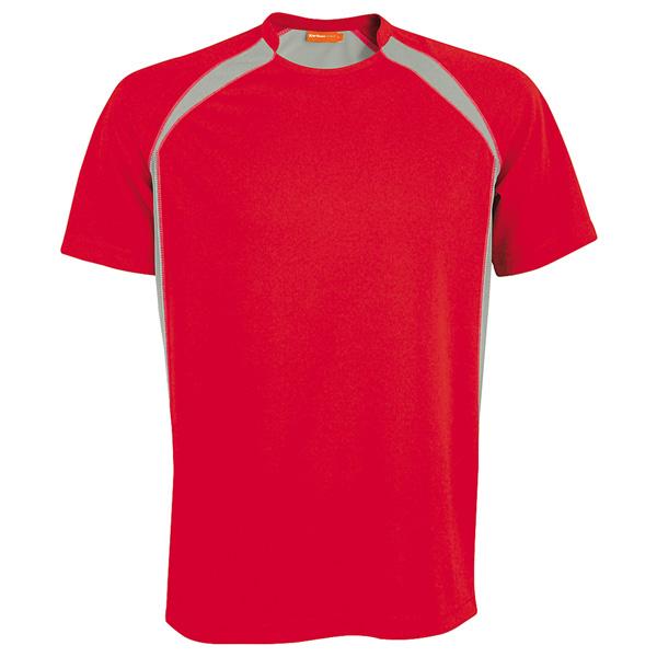 Tekninen T-Paita Sport puna-harmaa