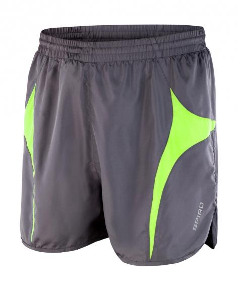 Juoksija shortsit harmaa-lime