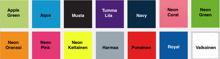 Naisten Sport t-paita värikartta
